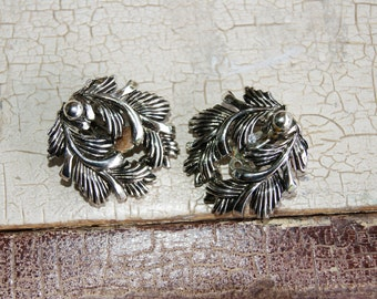 Silver Tone Floral Alice Caviness Clip on Earrings 1950s