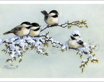 Winter Chickadees Giclee Wildlife Print - Chickadee Print - Wildlife Art - Chickadees - Winter Scene - Bird Painting - Snow  Painting