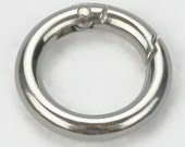 1 Nickel Plated Gate Spring O-Ring 3/4 inch Round Push Snap Hooks for Purses and Handbags
