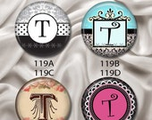 "Initial ""T"" - Pretty and Sophisticated, Interchangeable Magnetic Design Inserts - FIT Clique and Magnabilities 1"" Jewelry Bases...119"