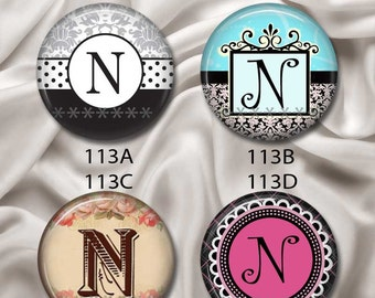 """Initial, Letter """"N"""" - Pretty and Sophisticated, Interchangeable Magnetic Design Inserts - FIT Clique and Magnabilities 1"""" Jewelry...113"""