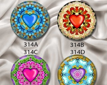 """Valentine Heart Mandalas - Interchangeable Magnetic Design Inserts - FIT Clique and Magnabilities 1"""" Jewelry Bases...314"""