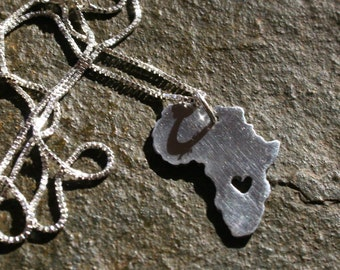 Love for Africa Silver Heart cut out Necklace