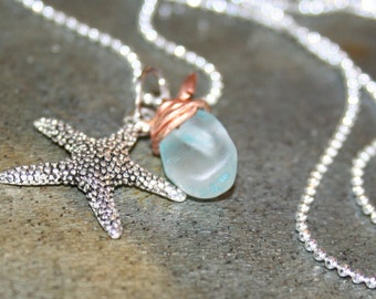 Silver and Copper Wrapped Sea Glass Starfish Necklace