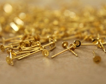 100 pc. Gold Plated Earring Posts, 3mm pad | FI-008-2