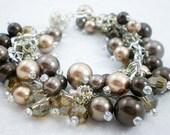 Bronze Crystal Pearl Brac...