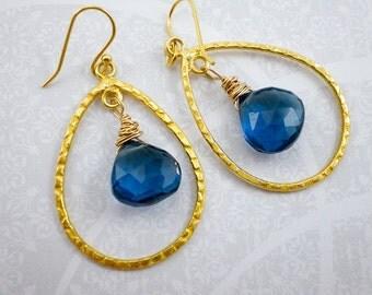 London Blue Quartz Gold Chandelier Earrings, Teal Blue Quartz Gemstone, Gold Vermeil Hoop, Wedding Earrings, Bride Earrings, inv66