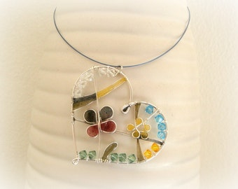 Handmade Necklace - Wired Heart Of Nature - Wired Pendant with Swarovski Crystal - Resin Crystal Necklace - Rainbow Heart