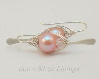 Pink Swarovski Pearl and Crystal Silver Herringbone Wrap Earrings, Artisan Hammered Sterling Silver Jewelry, Swarovski Crystals and Pearls