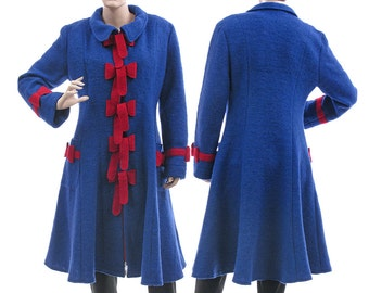 Boho fall winter coat in cobalt blue, boiled wool coat with bows medium to large size M-L, US size 12-14, discount 152 USD was 337 now 185