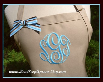 Khaki and Ocean Blue Monogrammed Apron - Personalized Neutral Color Apron, Tall Size Apron, Womens Beach Colors Apron, Custom Coastal Aprons