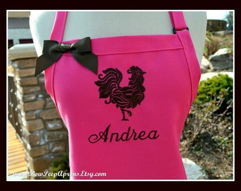 Custom Name Rooster Monogrammed Apron - Personalized Chefs Baking Gift Idea Kitchen Bakers Adjustable Womens Wedding Shower