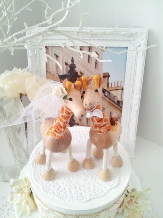 SALE Wooden Giraffe Wedding Cake Topper