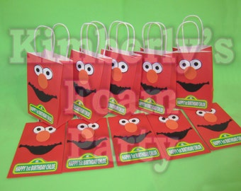 10 Personalized Elmo Party Bags