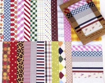 Masking Sticker Set - Stickers - Paper Sticker Set - Deco Sticker - 28 sheets - Fabric Ver