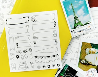 Film Skin Stickers - Diary Stickers - Deco Stickers - Paper Stickers - Masking Stickers - 6 sheets in