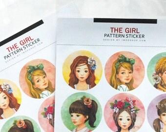 The Girl Pattern Sticker - Deco Sticker - Diary Sticker - 2 sheets