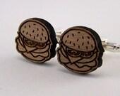 Wood Burger Cufflinks - Wooden Groom Cuff Links - Laser Cut - Wedding Groomsmen