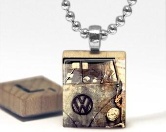 Retro VW Bus Scrabble Tile Pendant Necklace by Cheeky Monkey Pendants
