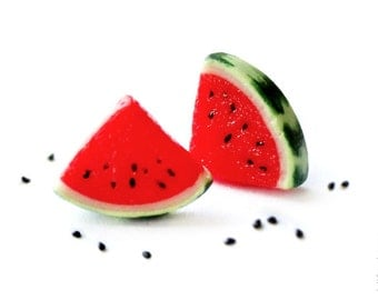 FREE SHIPPING - Watermelon Stud Earrings - Small Ear Studs - Earrings Post - Food Jewelry
