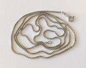 "Vintage 30"" Box Link Sterling Silver Made in Italy Chain / Necklace"
