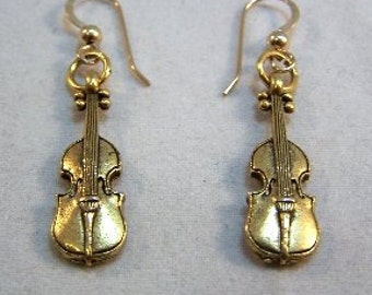Gold Tone Pewter Violin Charms on Gold Filled Ear Wire Dangle Earrings-1555