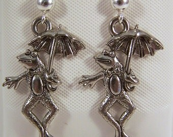 Pewter Frog with Umbrella Earrings on Sterling Silver Ear Studs -5533