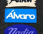 Wooden plaque sign custom with name several models Wall art