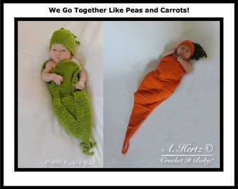 Crochet Sweet Pea and Carrot Cocoons and Hat Photo Prop Sets - PATTERNS ONLY