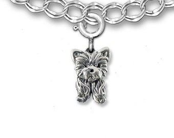 Sterling Silver Yorkie Puppy Charm