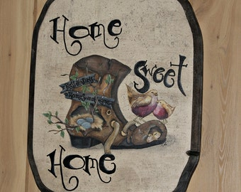 Hand Painted Wooden Wall Plaque- Home Sweet Home- 10% Animal Rescue