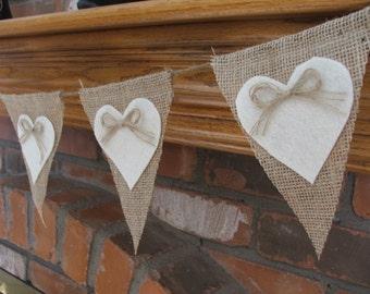 Wedding garland burlap banner with cream felt hearts rustic wedding decoration Valentines garland