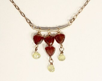 Red Garnet & Green Peridot Arc Necklace