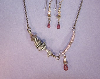 Ruby Necklace & Earring Set