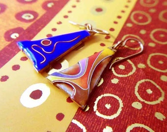 Enamel earrings, Cloisonne earrings, Abstract pendant earrings