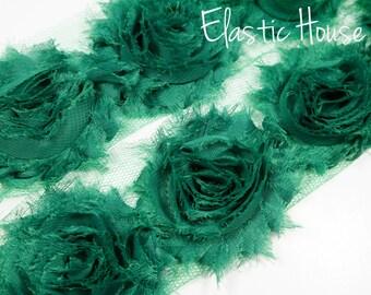"""2.5"""" Shabby Rose Trim-  Dark Green Color- Chiffon Trim - Hair Accessories Supplies"""