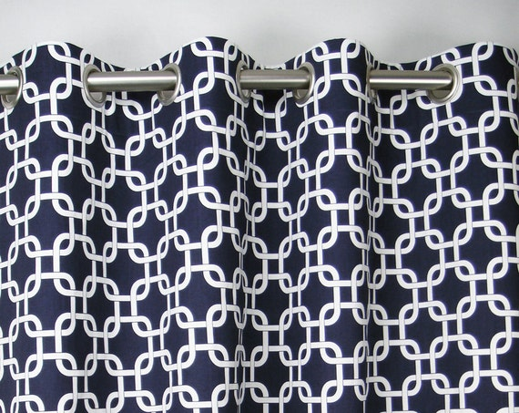 Navy Blue White Modern Chain Link Gotcha Curtains - Grommet - 84 96 108 or 120 Long by 25 or 50 Wide - Optional Blackout or Cotton Lining