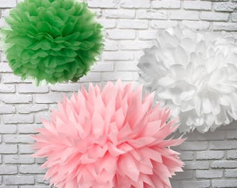 Tissue Paper Pom Poms Set of 9