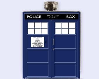 Tardis Flask, Doctor Who Tardis Personalized Custom Flask,
