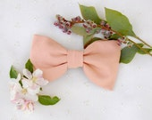 LAST ONE Soft Blush Bow Tie Hair Clip - Made to order with peach/pink vintage fabric and a French barrette.