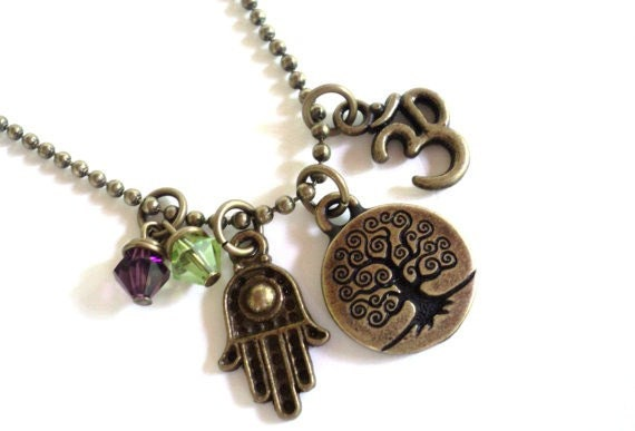 Tree of Life Necklace Yoga Jewelry Namaste Hamsa Bohemian Om Earthy Unique Gift For Her Mothers Day Birthday Under 50 Item T31