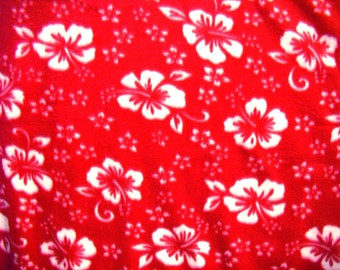 Hibiscus Flowers on Burgundy Anti-Pill Fleece Fabric and sold by the yard