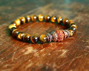 Mens Meditation Bracelet Mala Tigers Eye Gemstone 21 Bead Rudraksha Copper Japa Bhakti Yoga Beads