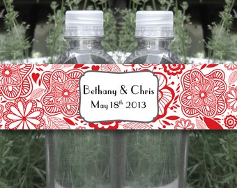 Abstract Floral Water Bottle Label - WATERPROOF