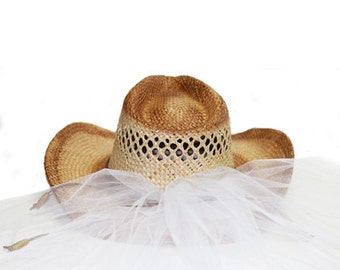 Cowgirl Bride Hat Country Western Bride Hat with Veil - Straw Bride Hat, Country Wedding Hat