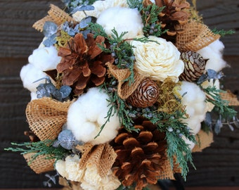 Rustic Winter Wedding Bouquet, Wedding Bouquet, Winter Bouquet, Burlap and Cotton Bouquet, Pinecone Bouquet, Woodland Wedding, Pine Cone