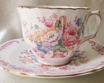 1960s Crown Staffordshire Bone China Tea Cup and Saucer,Floral Transfer,Gold Trim. Valentine  Gift, Bridesmaid Gift, Get Well Gift