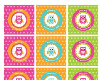 Owl Birthday or Baby Shower Labels Cupcake Toppers - DIY, Party Printable, Personalized, Favor Tags, Digital Pdf File