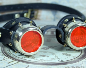Steampunk, Goggles, black leather, brass, red target etched eye pieces, brass nuts