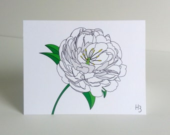 Floral Note Card White Peony Garden Flower Greeting Card with Envelope Floral Print Stationery for Gardner or Florist Flower Sympathy Card